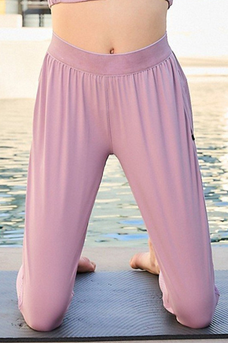 Waist Elastic Band Side Zipper Pocket Contrast Mesh Pants