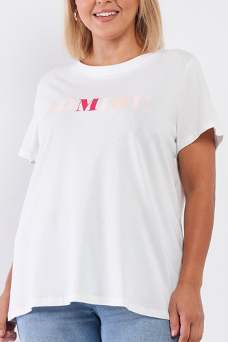 Off-white Admire Print Logo Detail Crew Neck Relaxed Fit Top