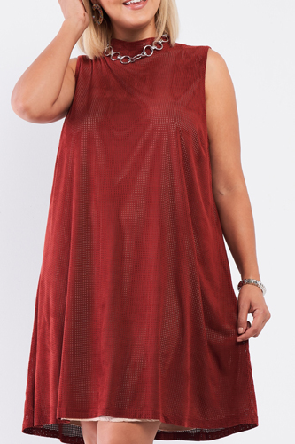 Plus Rust And Nude Illusion High Neck Swing Dress