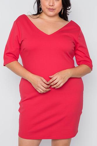 Plus Size Red Back Lace Detail Mini Dress