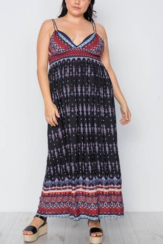 Plus Size Multi Black Paisley Print Maxi Boho Dress