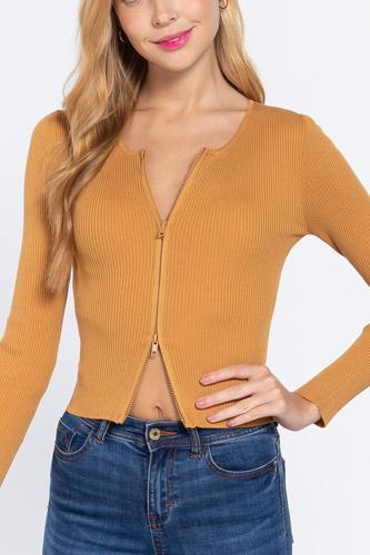 Rib Sweater Top W/front Zipper
