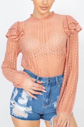 Sheer Crochet Lace Ruffled Top