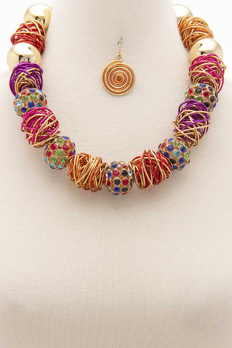 Chunky Beaded Wire Wrapped Necklace