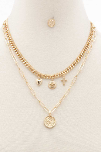 Sodajo Coin Charm Oval Link Layered Necklace