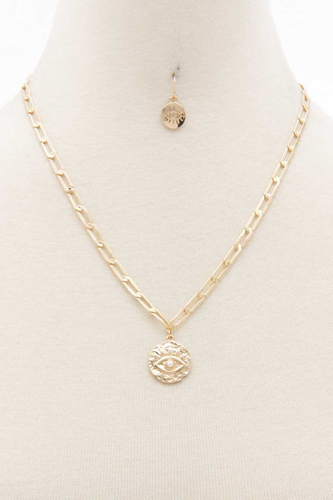 Sodajo Eye Coin Oval Link Necklace