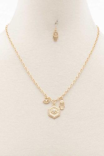 Sodajo Hexagon Shape Charm Necklace