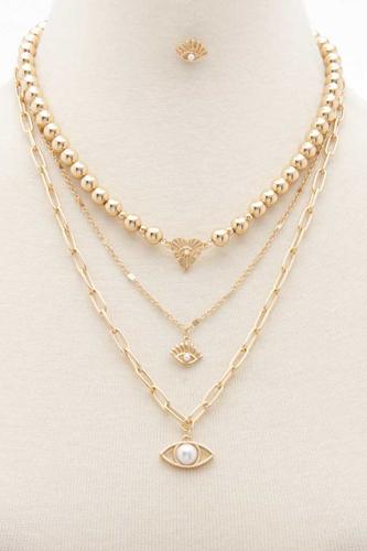 Sodajo Eye Charm Metal Bead Layered Necklace
