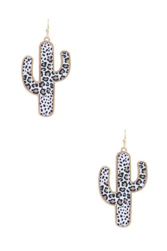 Leopard Pattern Cactus Shape Earring