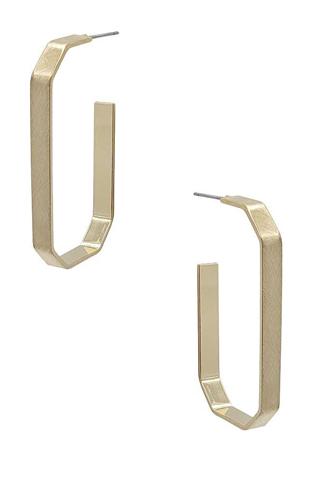 Metal Octagon Hoop Earring