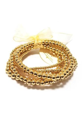Metal Ball Bead Stretch Multi Bracelet