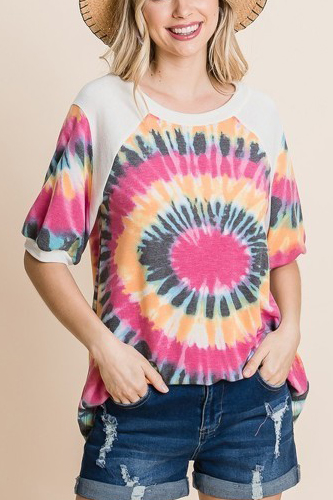 French Terry Tie Dye Printed Casual Mini Bubble Sleeves Tunic Top