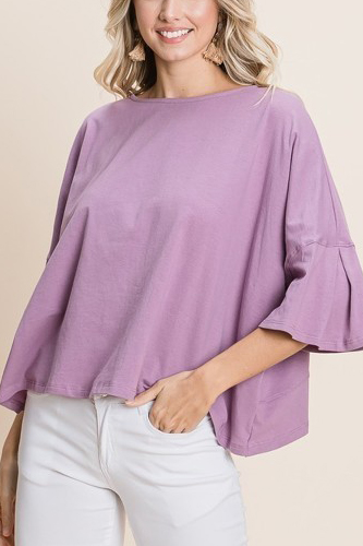 Solid Cotton Casual Top