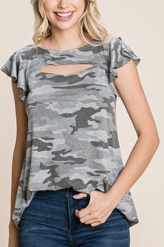 Army Camo Printed Cut Out Neckline Short Flutter Sleeves Casual Basic Top