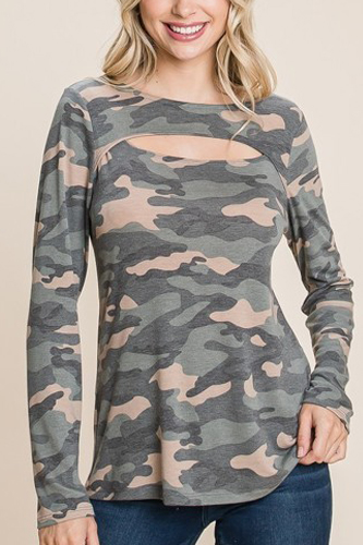 Army Camo Printed Cut Out Neckline Long Sleeves Casual Basic Top