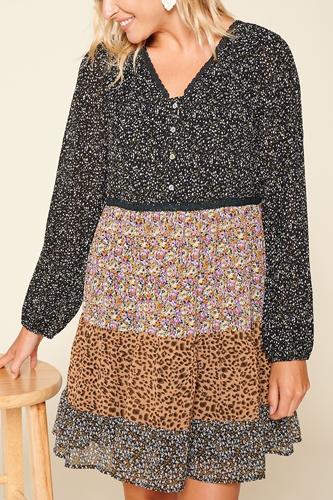 Printed Block Woven Mini Dress