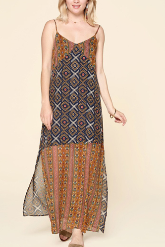 Mixed Printed Chiffon Maxi Slip Dress