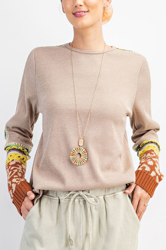 Multi Thread Knitted Slvs Detailing 2tone Hacci Knit Top