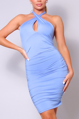 Halter Crossover Front Ruched Mini Dress