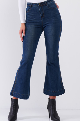 Blue Denim High Waisted Ankle Length Bell Bottom Flare Jeans