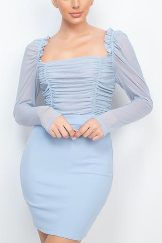 Lace Shirring Dress