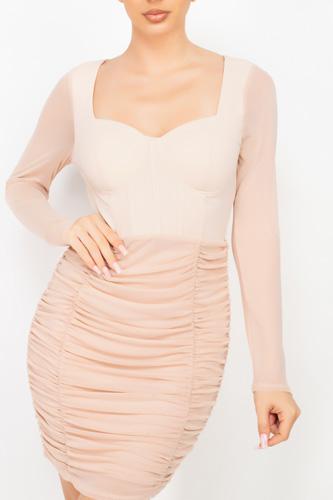 Sweetheart Shirred Bodycon Dress