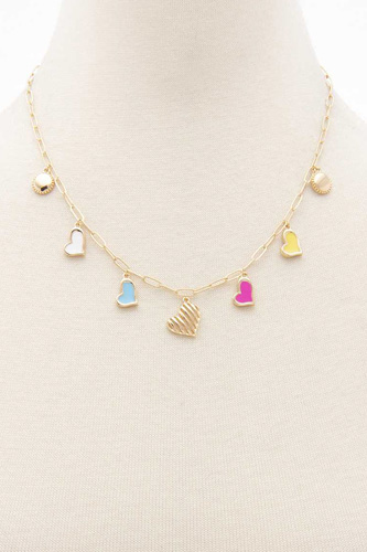 Colored Heart Charm Station Necklace