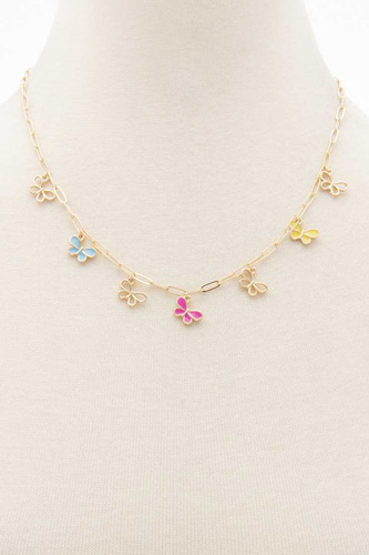 Colorful Butterfly Charm Oval Link Station Necklace