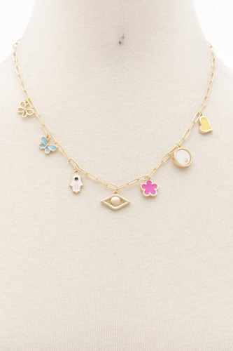 Butterfly Flower Eye Charm Station Necklace