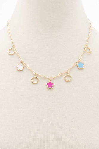 Flower Charm Station Necklace