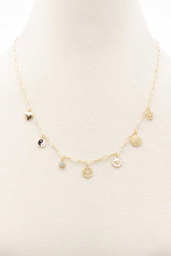 Ying Yang Happy Face Charm Station Necklace