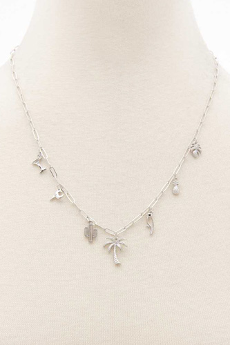 Palm Tree Cactus Charm Oval Link Station Necklace