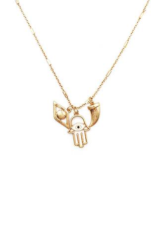 Fashion Metal Hamsa Hand Eye Tooth Necklace