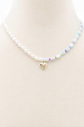 Sodajo Heart Charm Pearl Necklace