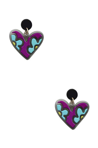 Heart Cute Flower Print Earring