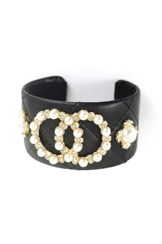 Fashion Pearl Double Round Studded Faux Leather Cuff Bracelet