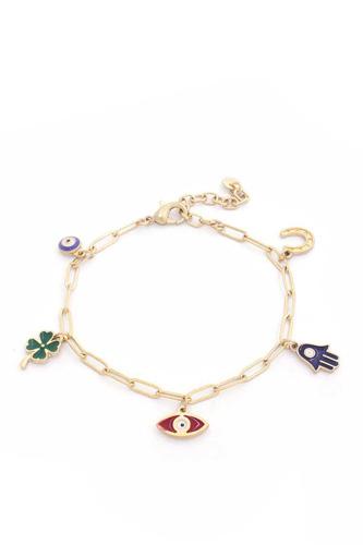 Hamsa Hand Colored Charm Oval Linl Bracelet