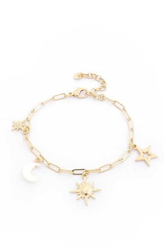 Sun Star Charm Oval Link Bracelet