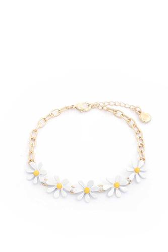 Daisy Flower Oval Link Bracelet