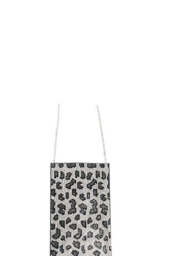 Leopard Rhinestone Mini Cross Body Bag
