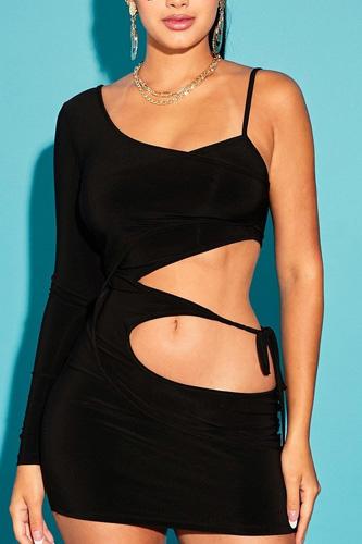 One Shoulder Waist Tie Mini Dress