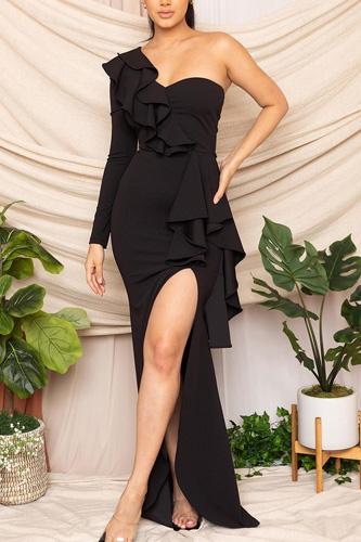 Stretch Crepe One Shoulder Maxi Dress