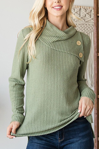 Buttoned Flap Mock Sweater