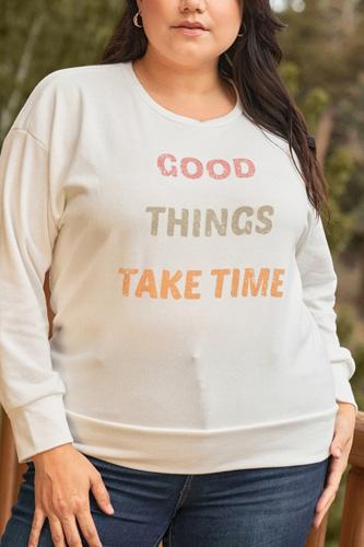 Plus White Metaphor Printed Long Sleeve Relaxed Sweatshirt Top