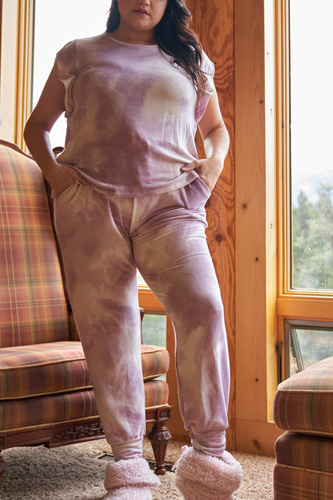 Plus Lavender Tie-dye Dropped Armhole Relaxed Top & High Waist Jogger Pants Two-piece Set