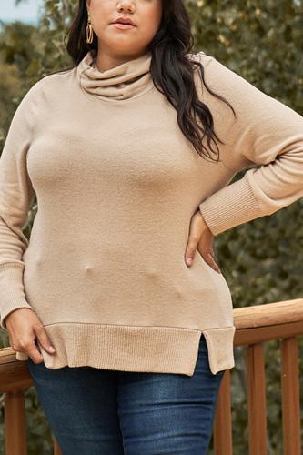 Plus Khaki High Cowl Neck Long Sleeve Rib Hem Sweater Top
