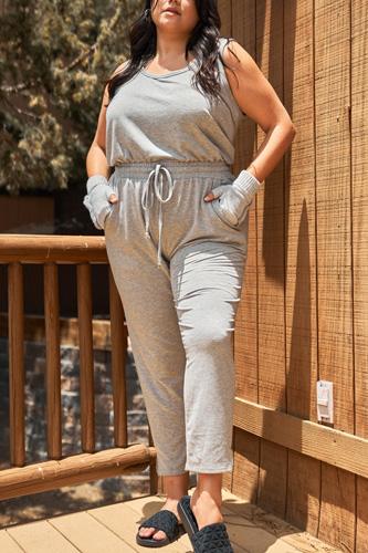 Plus Heather-grey Round Neck Sleeveless Tie Waist Jumpsuit