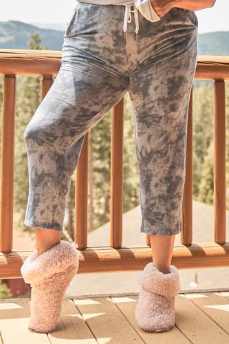 Plus Navy Tie-dye High-waisted Sweatpants