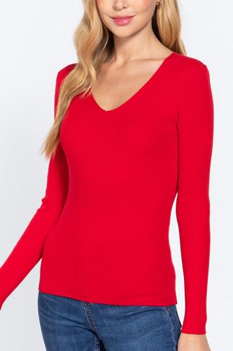 V-neck Viscose Rib Sweater
