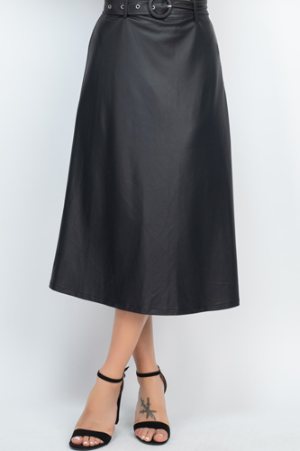A-line Midi Leather Skirt